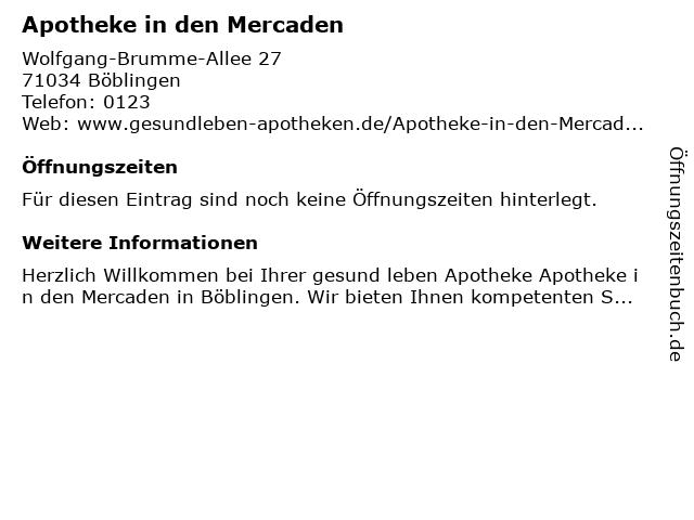 Apotheke in den Mercaden in Böblingen: Adresse und Öffnungszeiten