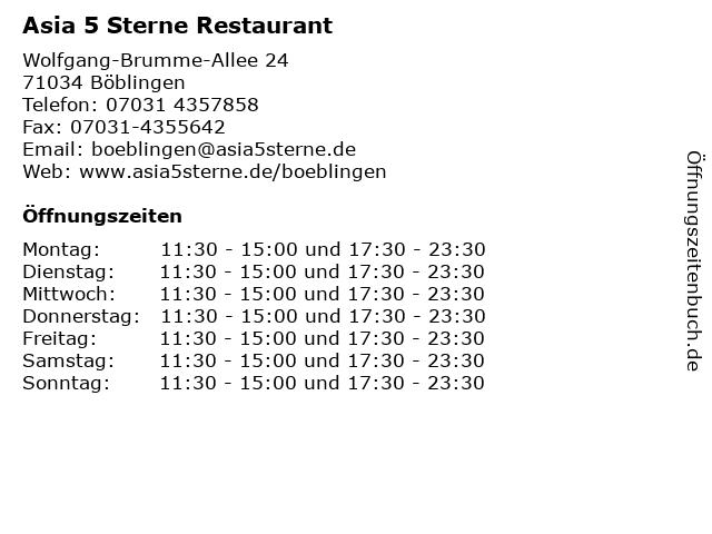 Asia 5 Sterne Restaurant in Böblingen: Adresse und Öffnungszeiten