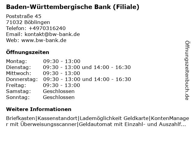 Baden-Württembergische Bank in Böblingen: Adresse und Öffnungszeiten