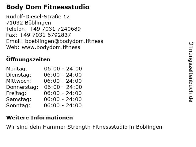 Body Dom Fitnessstudio in Böblingen: Adresse und Öffnungszeiten