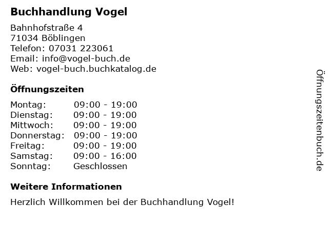 Buchhandlung Vogel in Böblingen: Adresse und Öffnungszeiten