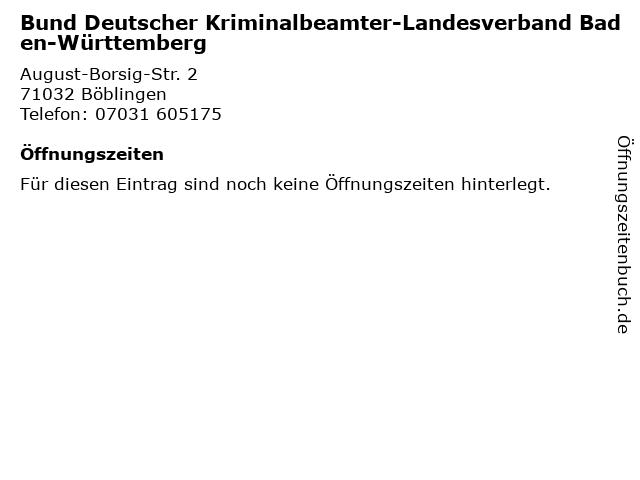 Bund Deutscher Kriminalbeamter-Landesverband Baden-Württemberg in Böblingen: Adresse und Öffnungszeiten