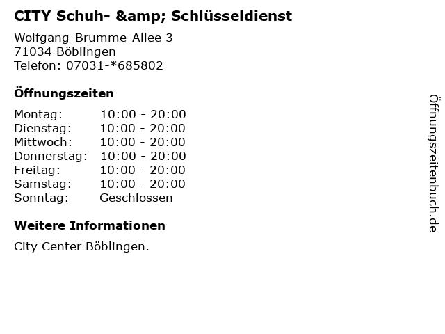 CITY Schuh- & Schlüsseldienst in Böblingen: Adresse und Öffnungszeiten