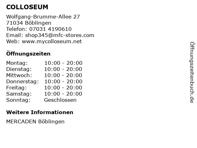 COLLOSEUM in Böblingen: Adresse und Öffnungszeiten