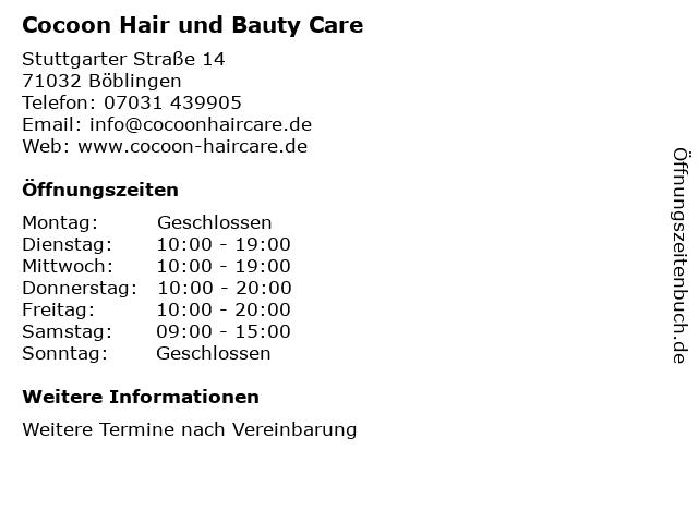 Cocoon Hair und Bauty Care in Böblingen: Adresse und Öffnungszeiten