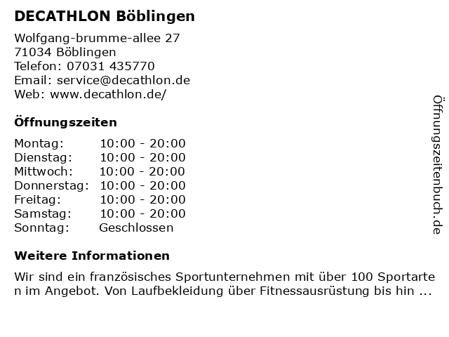 Decathlon Sportspezialvertriebs GmbH in Böblingen: Adresse und Öffnungszeiten