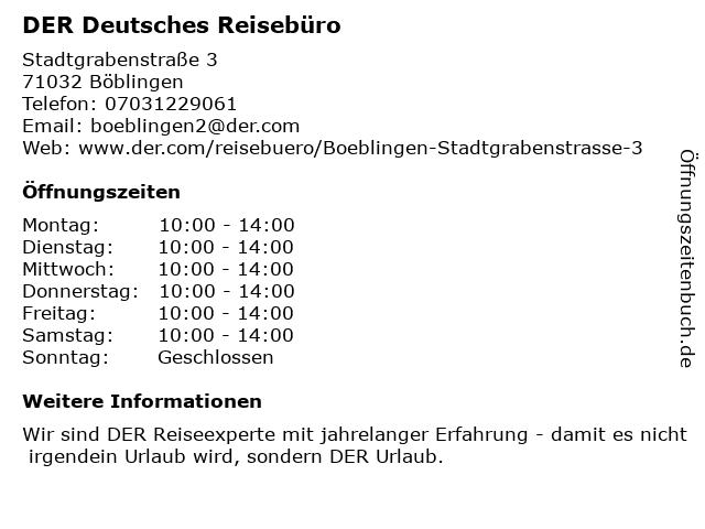 DER Deutsches Reisebüro in Böblingen: Adresse und Öffnungszeiten