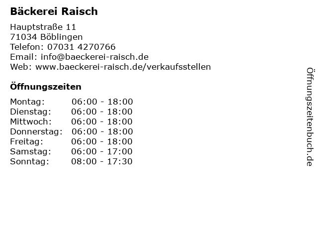 Bäckerei Raisch in Böblingen-Dagersheim: Adresse und Öffnungszeiten