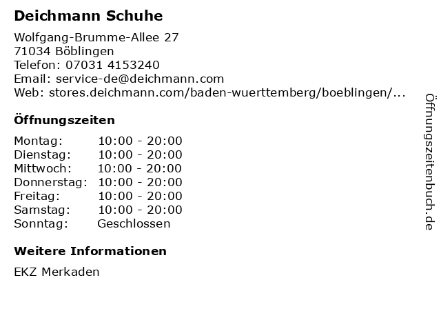 DEICHMANN in Böblingen: Adresse und Öffnungszeiten