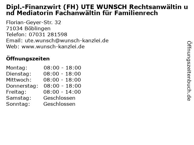 Dipl.-Finanzwirt (FH) UTE WUNSCH Rechtsanwältin und Mediatorin Fachanwältin für Familienrech in Böblingen: Adresse und Öffnungszeiten