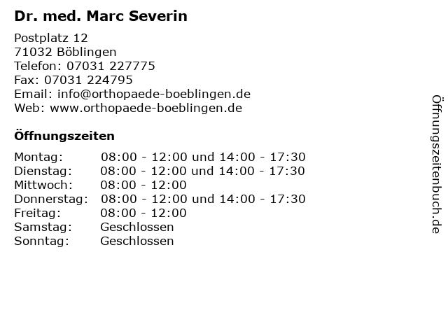 Dr.med. Marc Severin, Facharzt für Orthopädie und Unfallchirurgie in Böblingen: Adresse und Öffnungszeiten