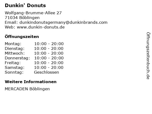 Dunkin' Donuts in Böblingen: Adresse und Öffnungszeiten