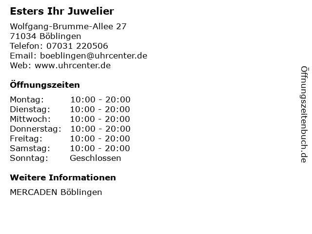 Esters Ihr Juwelier in Böblingen: Adresse und Öffnungszeiten