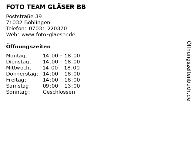 FOTO TEAM GLÄSER BB in Böblingen: Adresse und Öffnungszeiten
