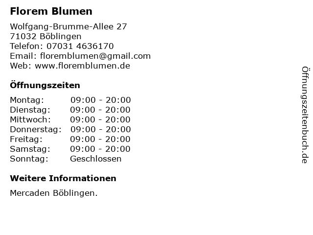 Florem Blumen in Böblingen: Adresse und Öffnungszeiten