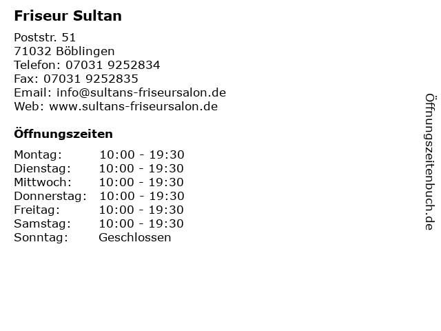 Friseur Sultan in Böblingen: Adresse und Öffnungszeiten
