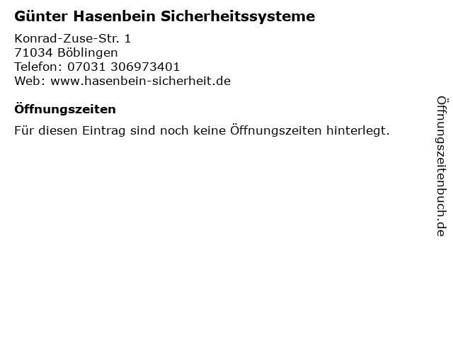 Günter Hasenbein Sicherheitssysteme in Böblingen: Adresse und Öffnungszeiten