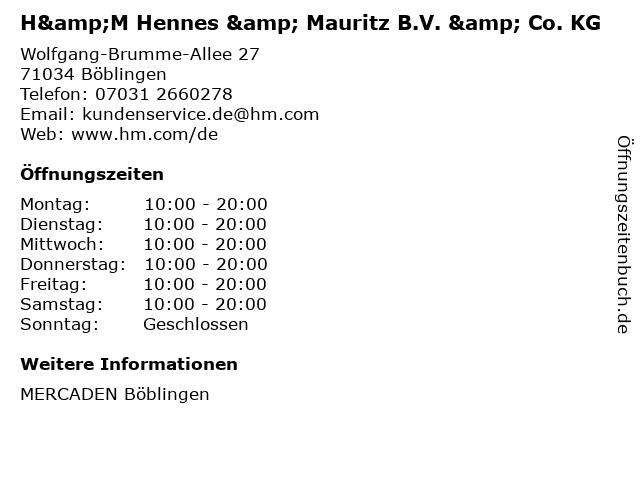 H&M Hennes & Mauritz B.V. & Co. KG in Böblingen: Adresse und Öffnungszeiten
