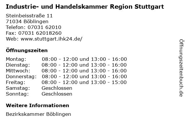 Industrie- und Handelskammer Region Stuttgart in Böblingen: Adresse und Öffnungszeiten