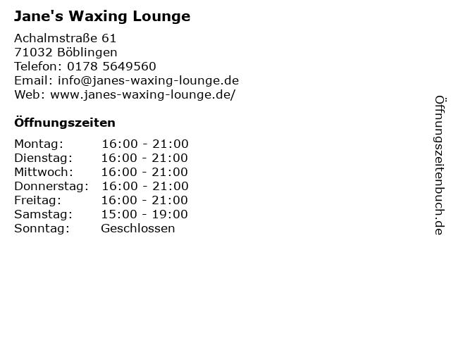 Jane's Waxing Lounge in Böblingen: Adresse und Öffnungszeiten