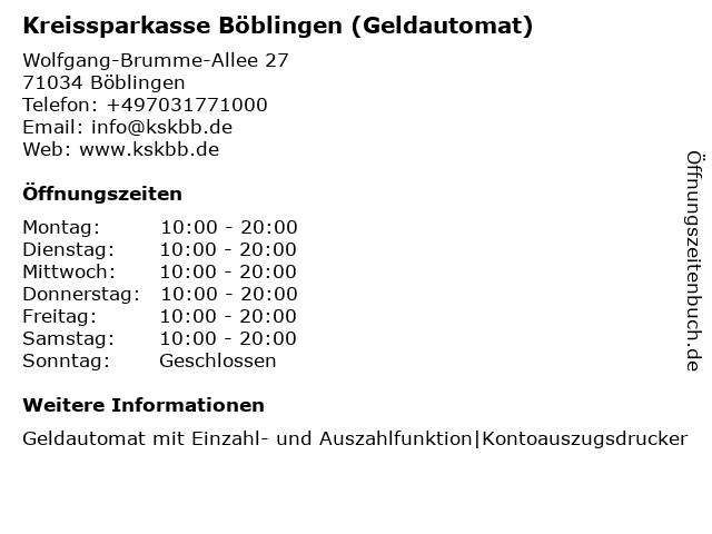Kreissparkasse Böblingen (SB-Center) in Böblingen: Adresse und Öffnungszeiten