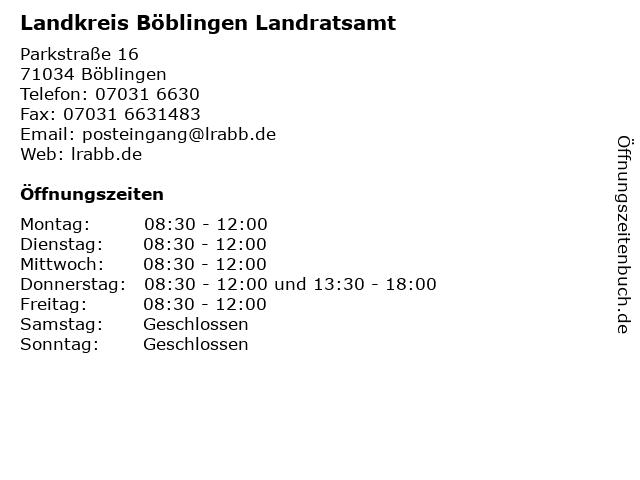Landkreis Böblingen Landratsamt in Böblingen: Adresse und Öffnungszeiten