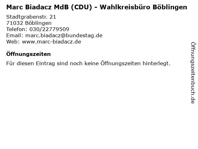 Marc Biadacz MdB (CDU) - Wahlkreisbüro Böblingen in Böblingen: Adresse und Öffnungszeiten