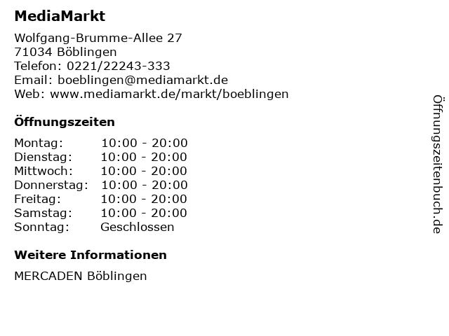 Media Markt TV-Hifi-Elektro GmbH in Böblingen: Adresse und Öffnungszeiten