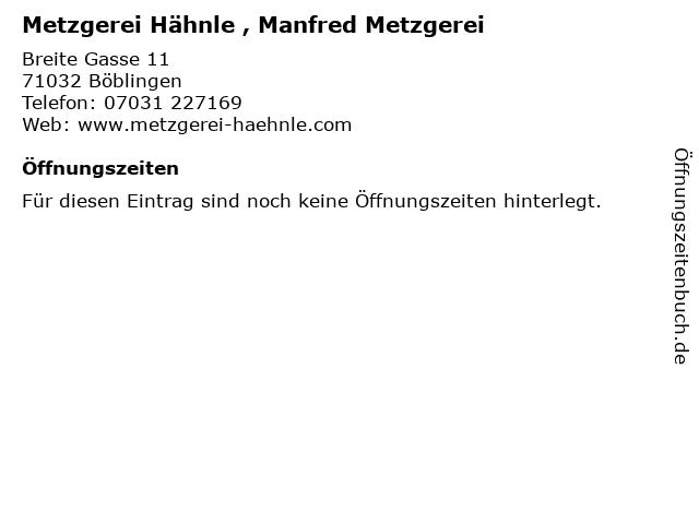 Metzgerei Hähnle , Manfred Metzgerei in Böblingen: Adresse und Öffnungszeiten