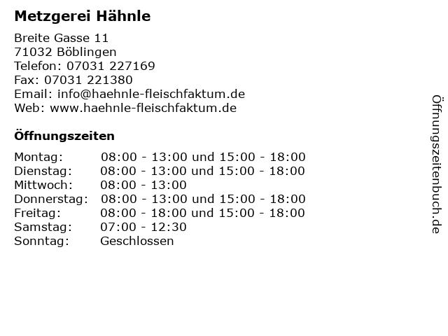 Metzgerei Hähnle in Böblingen: Adresse und Öffnungszeiten