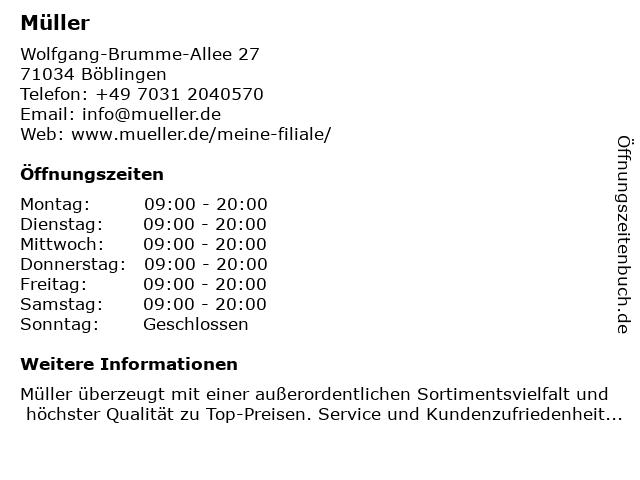Müller Drogeriemarkt in Böblingen: Adresse und Öffnungszeiten