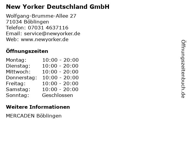 New Yorker Deutschland GmbH in Böblingen: Adresse und Öffnungszeiten