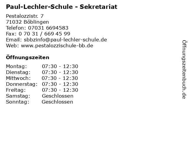 Paul-Lechler-Schule - Sekretariat in Böblingen: Adresse und Öffnungszeiten
