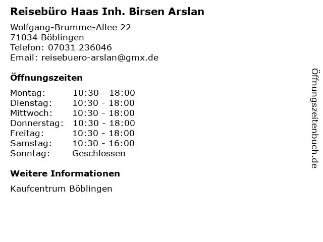 Reisebüro Haas Inh. Birsen Arslan in Böblingen: Adresse und Öffnungszeiten