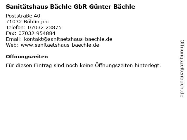 Bächle Sanitätshaus in Herrenberg: Adresse und Öffnungszeiten