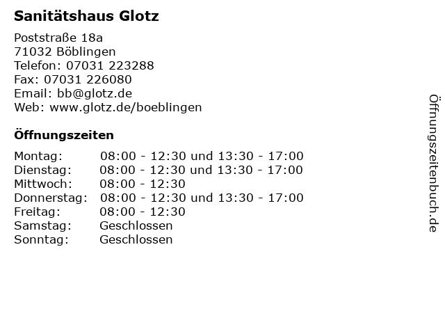 Sanitätshaus Glotz in Böblingen: Adresse und Öffnungszeiten