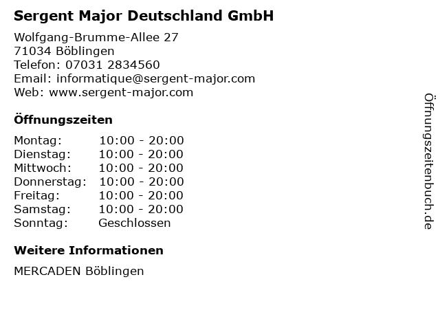 Sergent Major Deutschland GmbH in Böblingen: Adresse und Öffnungszeiten