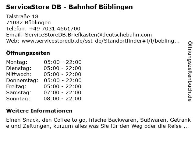 ServiceStore DB - Bahnhof Böblingen in Böblingen: Adresse und Öffnungszeiten