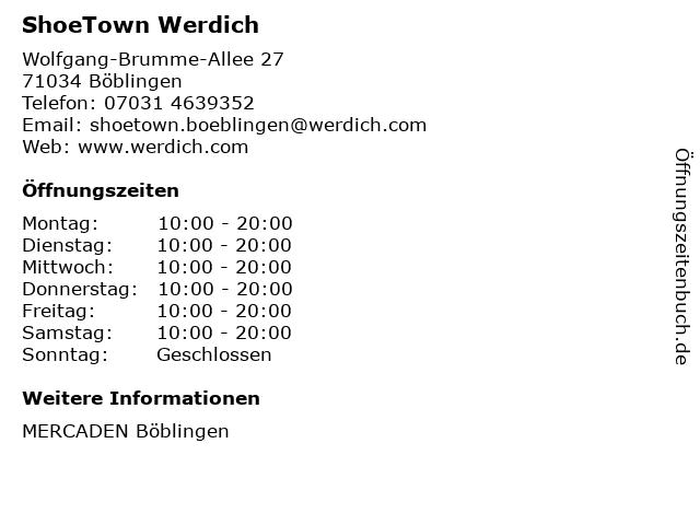 ShoeTown Werdich in Böblingen: Adresse und Öffnungszeiten