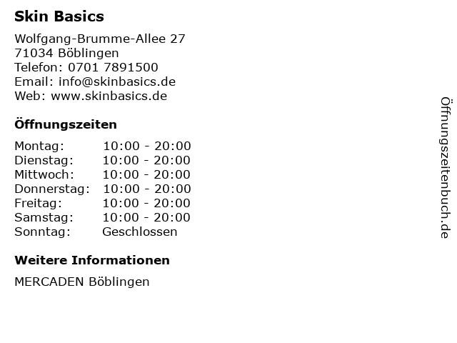 Skin Basics in Böblingen: Adresse und Öffnungszeiten