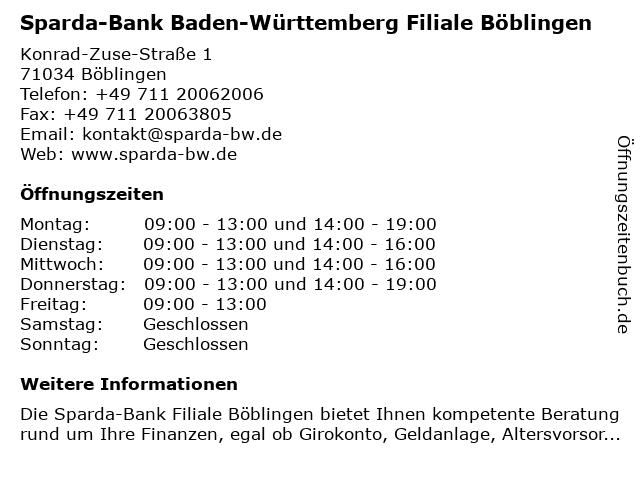 Sparda-Bank Baden-Württemberg Filiale Böblingen in Böblingen: Adresse und Öffnungszeiten