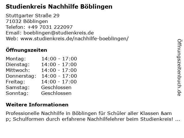 Studienkreis Nachhilfe Böblingen in Böblingen: Adresse und Öffnungszeiten