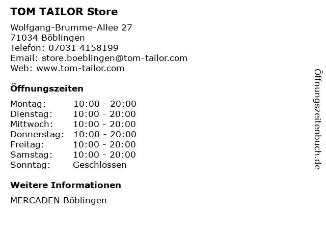 TOM TAILOR Store in Böblingen: Adresse und Öffnungszeiten