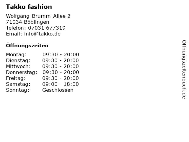 Takko fashion in Böblingen: Adresse und Öffnungszeiten