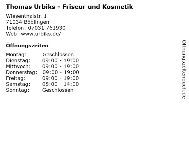 Thomas Urbiks - Friseur und Kosmetik in Böblingen: Adresse und Öffnungszeiten