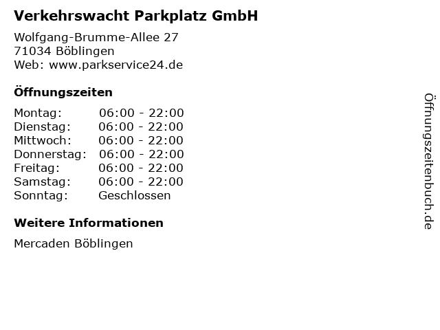 Verkehrswacht Parkplatz GmbH in Böblingen: Adresse und Öffnungszeiten