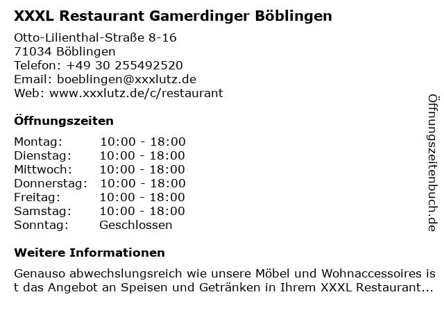 ᐅ öffnungszeiten Xxxl Restaurant Gamerdinger Otto Lilienthal