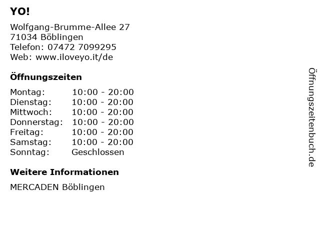 YO! in Böblingen: Adresse und Öffnungszeiten