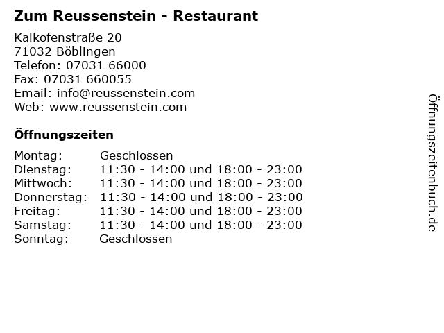 Zum Reussenstein - Restaurant in Böblingen: Adresse und Öffnungszeiten