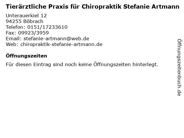 Tierärztliche Praxis für Chiropraktik Stefanie Artmann in Böbrach: Adresse und Öffnungszeiten